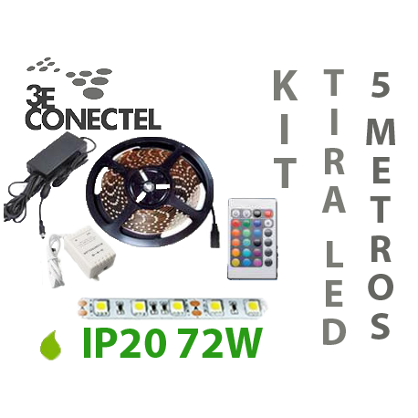 KIT TIRA LED 5 METROS 72W INTERIOR